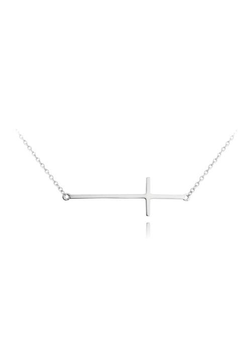 Naszyjnik srebrny - krzyż poprzeczny