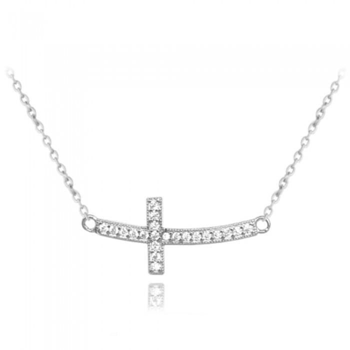 Naszyjnik srebrny - krzyż z cyrkoniami