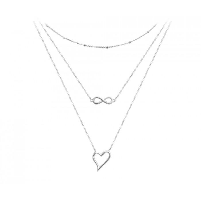 Naszyjnik srebrny potrójny z sercem i nieskończonością