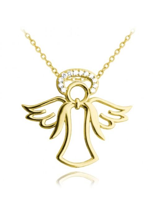 Naszyjnik srebrny pozłacany - aniołek