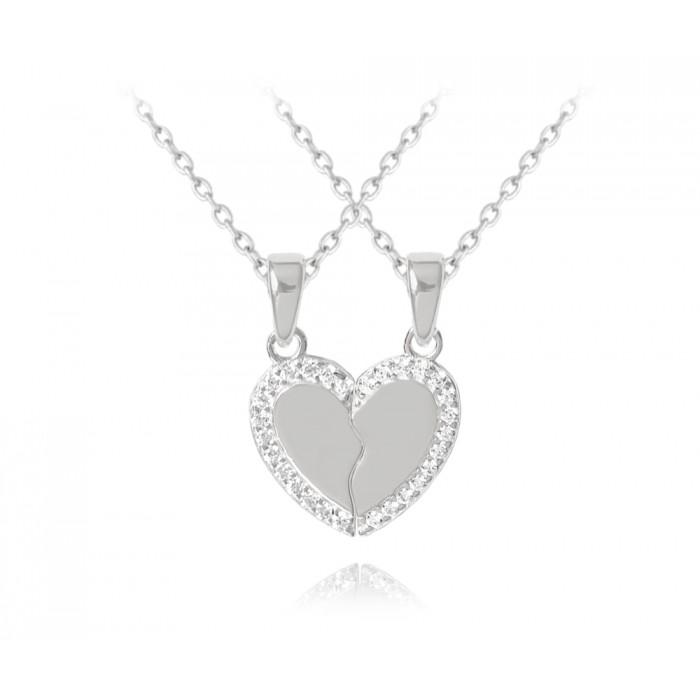 Naszyjnik srebrny - przepołowione serce