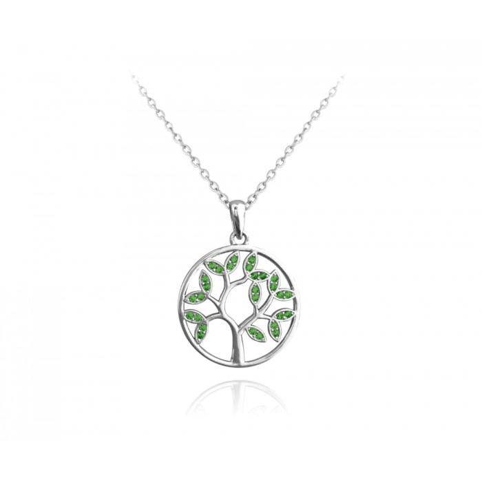 Naszyjnik srebrny rodowany - drzewo życia