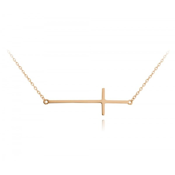Naszyjnik srebrny rose gold - krzyż