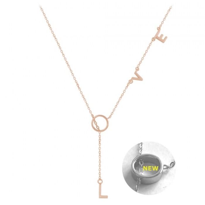 Naszyjnik srebrny (rose gold) napis love