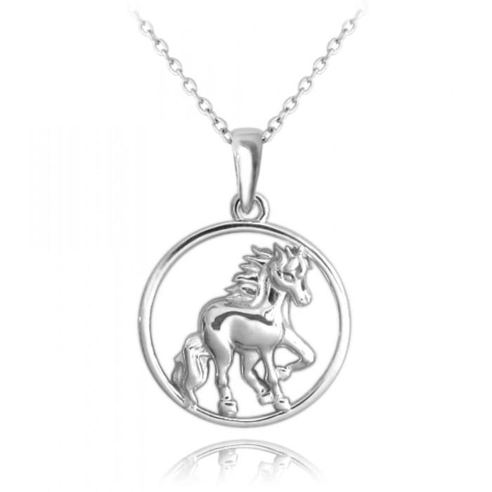 Naszyjnik srebrny - koń