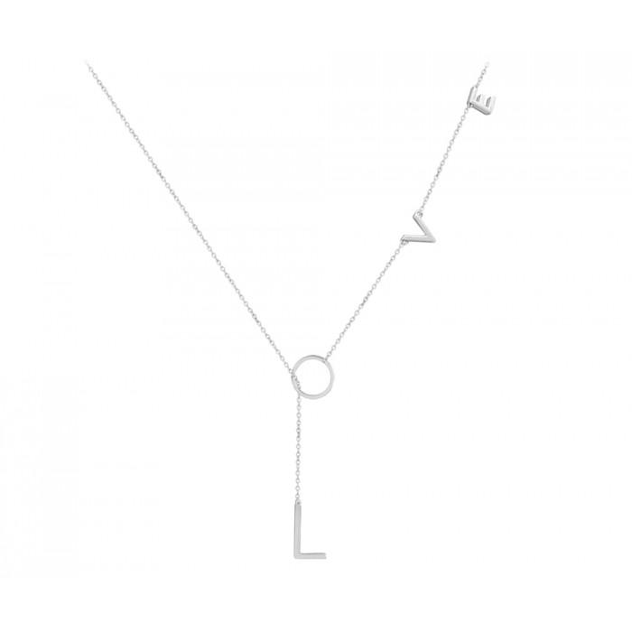 Naszyjnik srebrny z zawieszką - LOVE