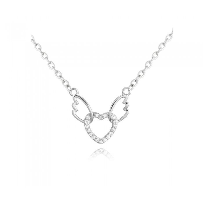 Naszyjnik srebrny z zawieszką - serce z anielskimi skrzydłami