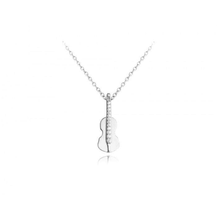 Naszyjnik srebrny z zawieszką - skrzypce