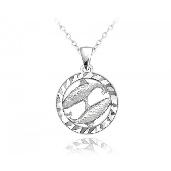 Naszyjnik srebrny znak zodiaku - ryby