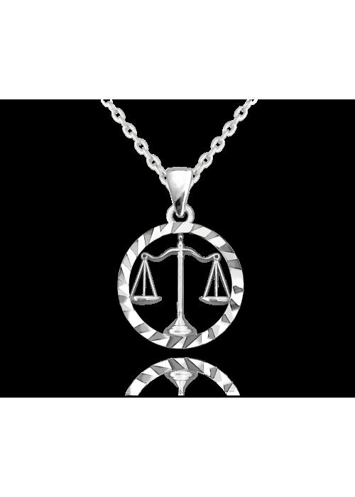 Naszyjnik srebrny znak zodiaku - waga