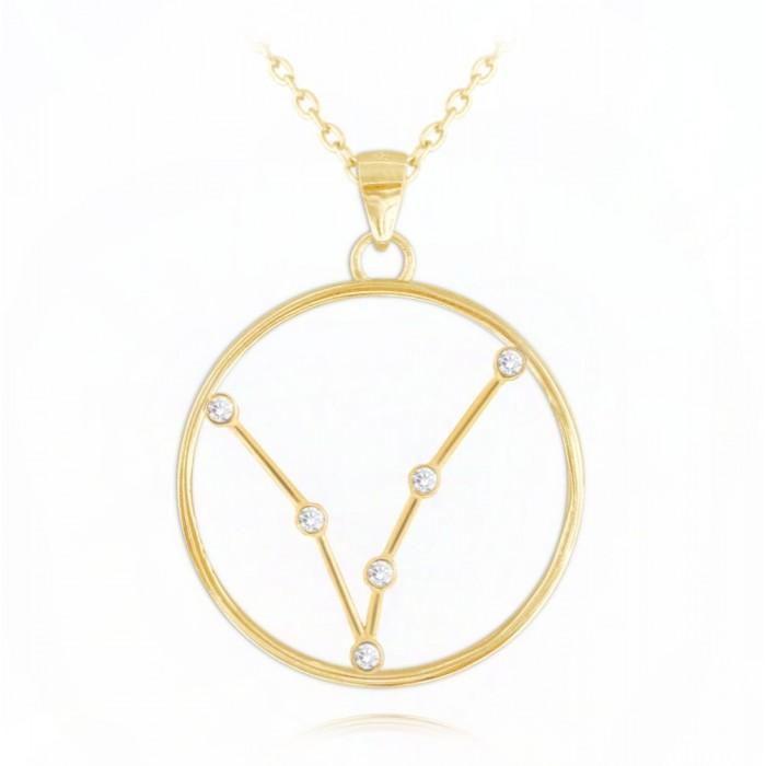 Naszyjnik srebrny pozłacany znak zodiaku Stars - RYBY