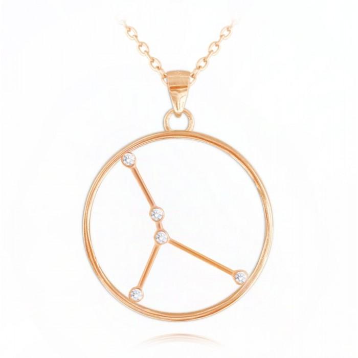 Naszyjnik srebrny (rose gold) znak zodiaku Stars - RAK