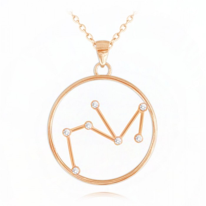 Naszyjnik srebrny (rose gold) znak zodiaku Stars - STRZELEC