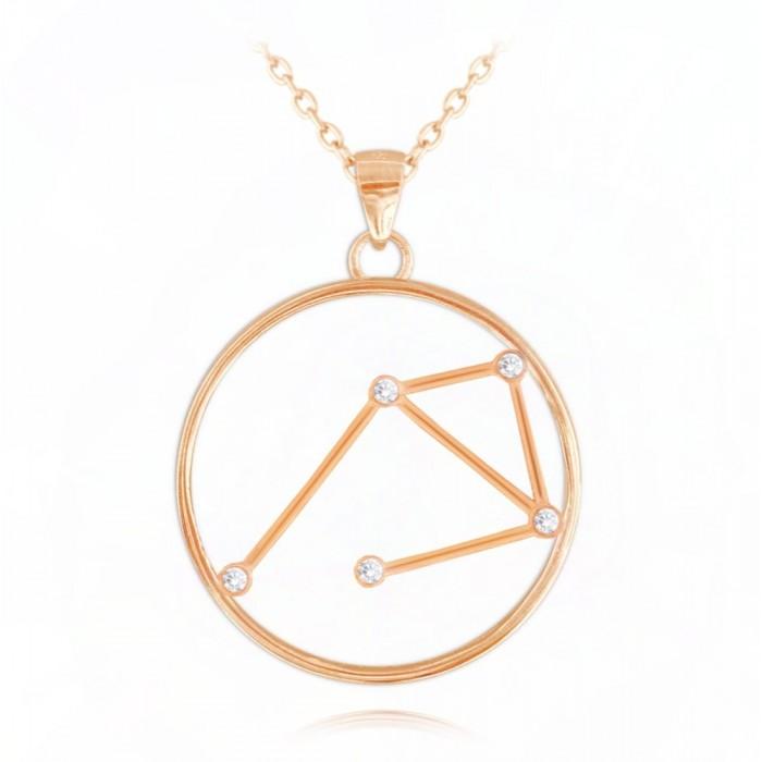Naszyjnik srebrny (rose gold) znak zodiaku Stars - WAGA
