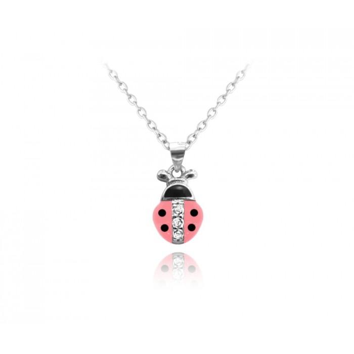 Naszyjnik srebrny - biedronka różowa