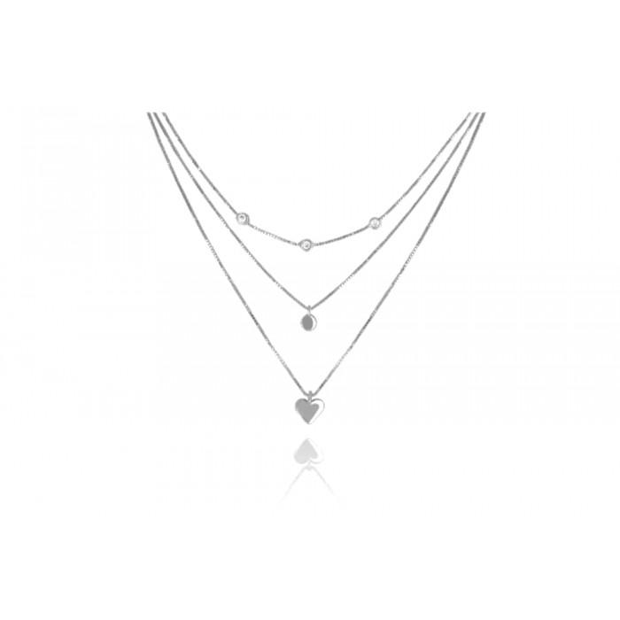 Naszyjnik srebrny potrójny z sercem