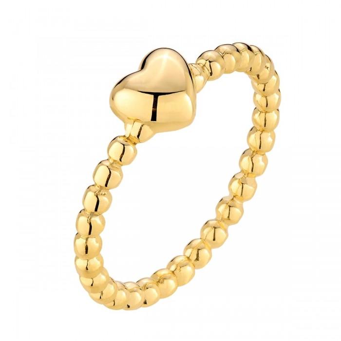 Pierścionek srebrny pozłacany - serce
