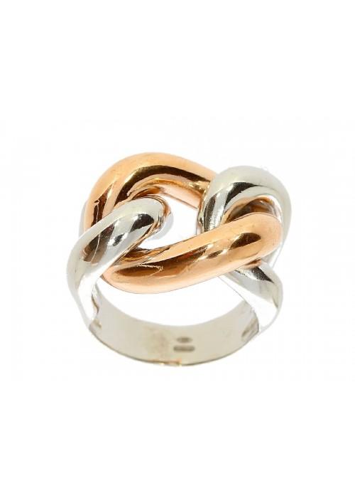 Pierścionek srebrny rodowany z ruchomym złoconym elementem bicolor (rose gold)