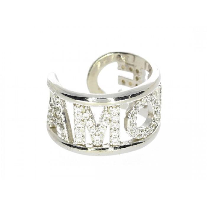 Pierścionek srebrny z napisem AMORE wysadzanym cyrkoniami