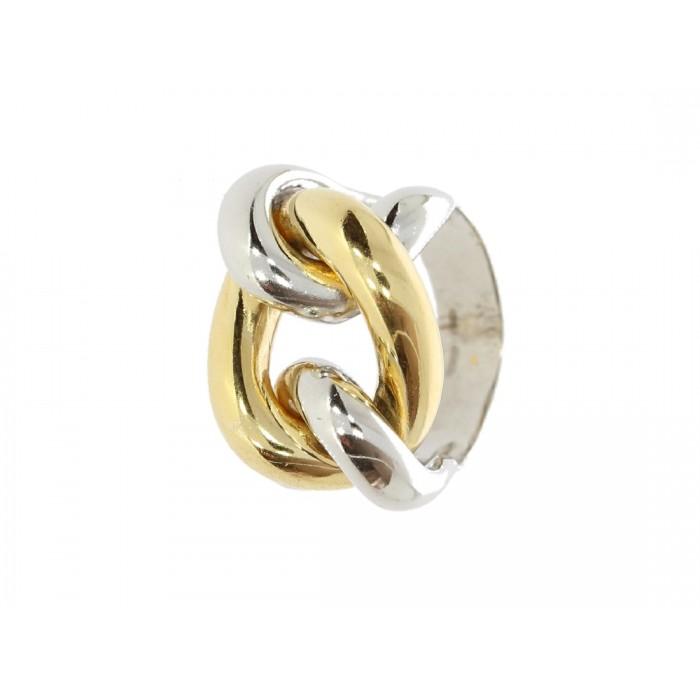 Pierścionek srebrny rodowany z ruchomym złoconym elementem bicolor