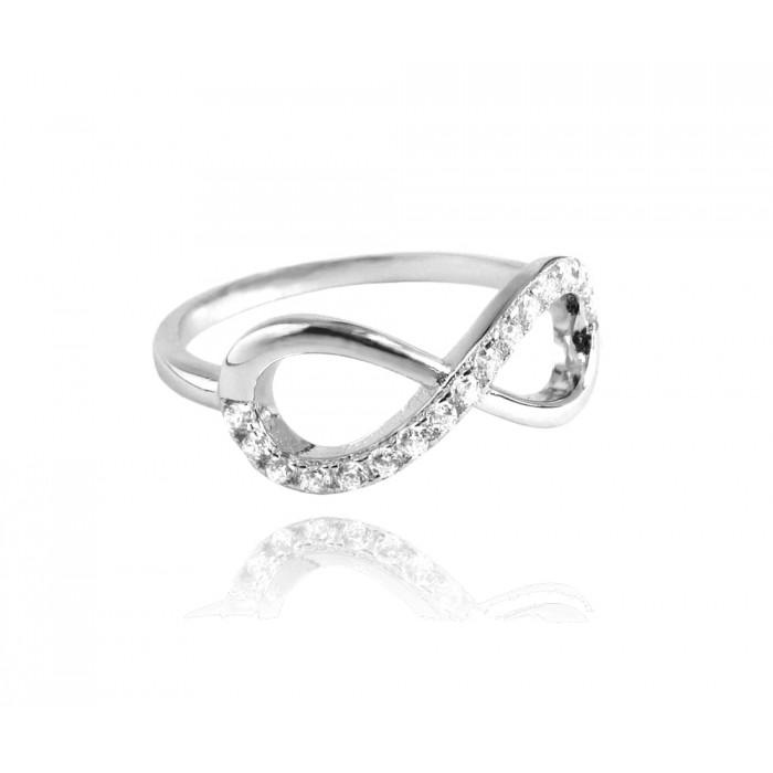 Pierścionek srebrny z białymi cyrkoniami - nieskończoność