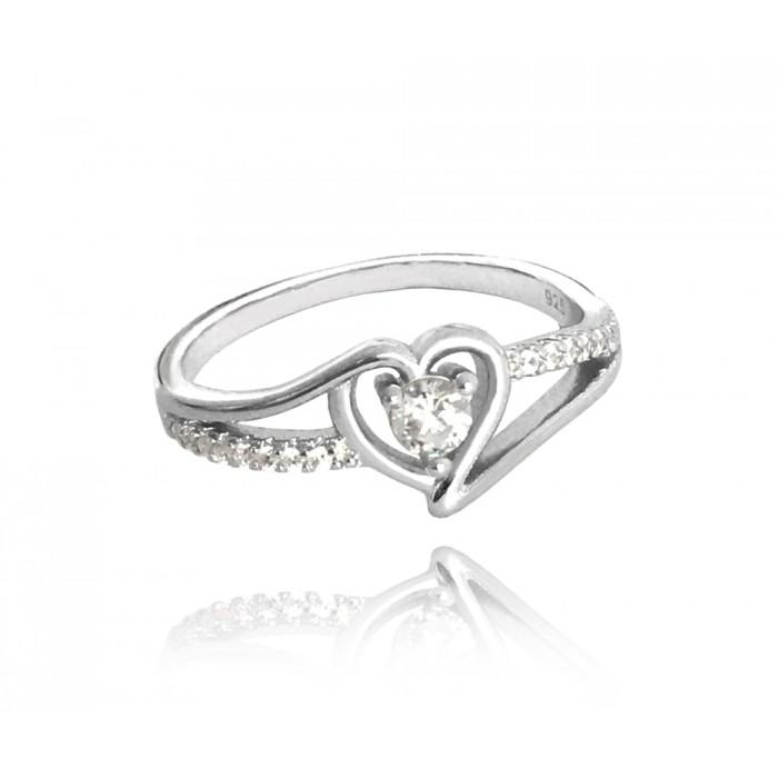 Pierścionek srebrny z białymi cyrkoniami - serce