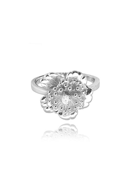 Pierścionek srebrny - kwiat z cyrkonią