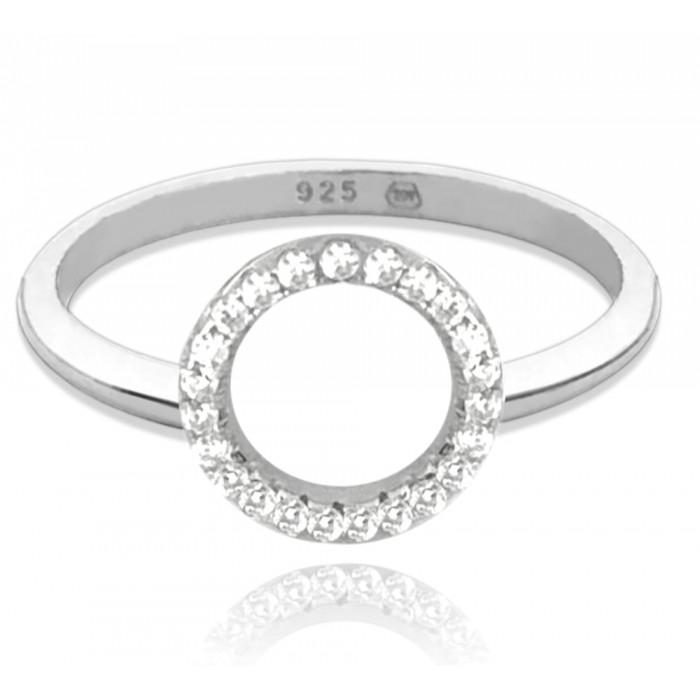 Pierścionek srebrny - okrąg z cyrkoniami
