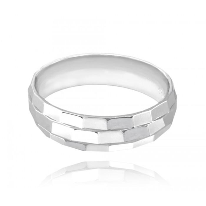 Pierścionek srebrny - prostokątne fazowanie