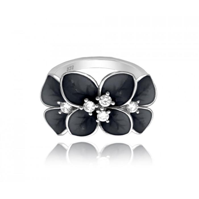 Pierścionek srebrny z cyrkoniami - czarny kwiat