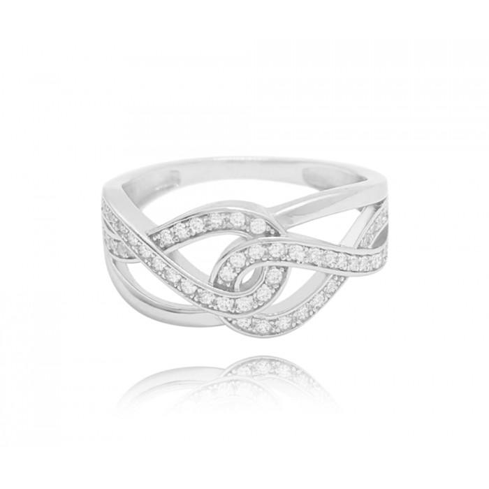 Pierścionek srebrny z cyrkoniami - nieskończoność