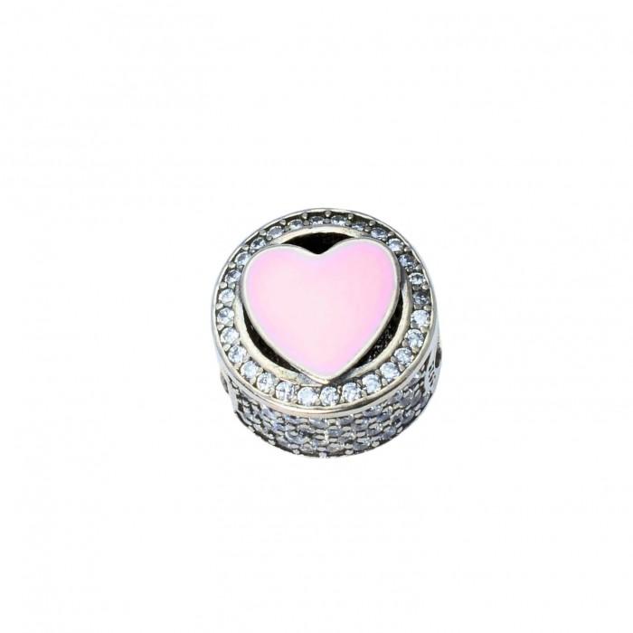 Zawieszka charms emaliowana - różowe serce
