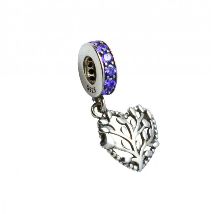 Zawieszka charms - drzewo życia z fioletowymi cyrkoniami