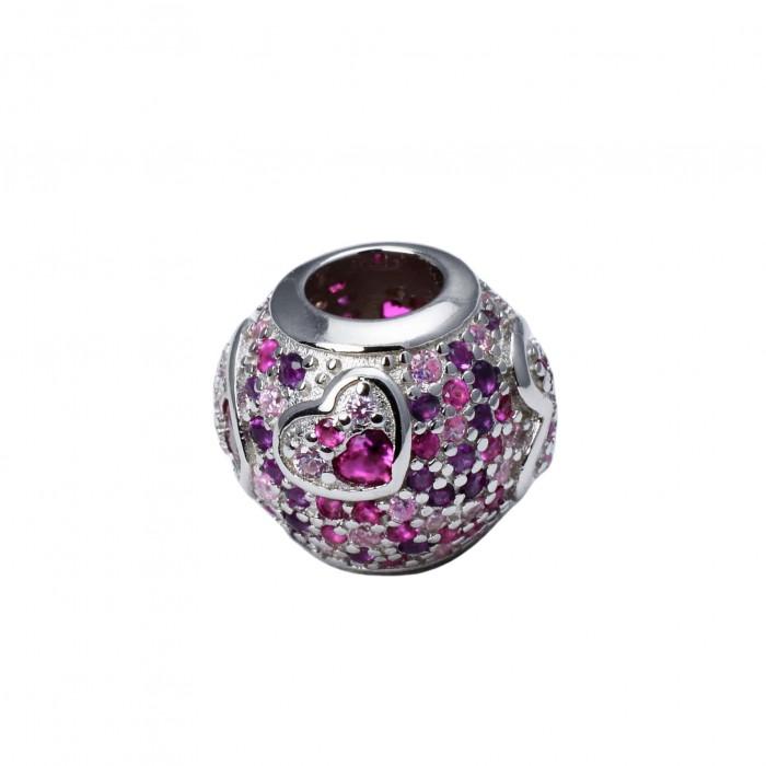 Zawieszka charms okrągła z różowymi cyrkoniami