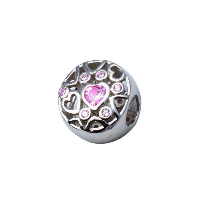 Zawieszka charms - okrągła z różowymi cyrkoniami