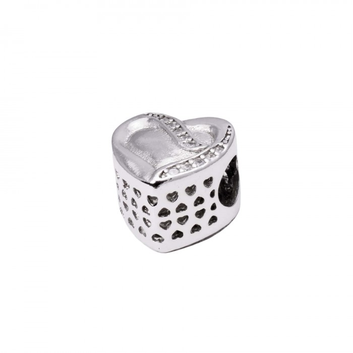 Zawieszka charms z cyrkoniami w kształcie serca