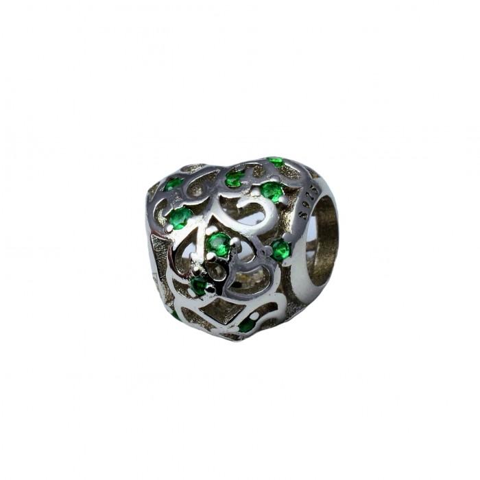Zawieszka charms z zielonymi cyrkoniami