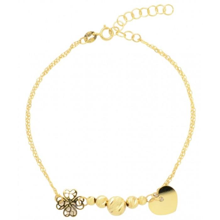 Bransoletka złota pr. 585 z sercem, kulkami i koniczyną