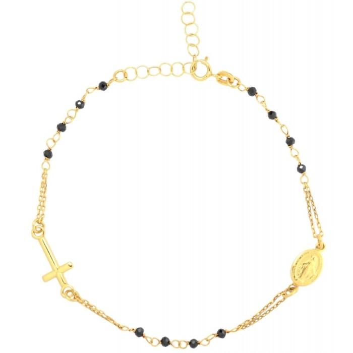 Bransoletka złota pr. 585 - krzyż z medalikiem