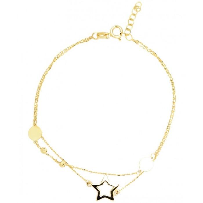 Bransoletka złota pr. 585 - gwiazdka z kółkami