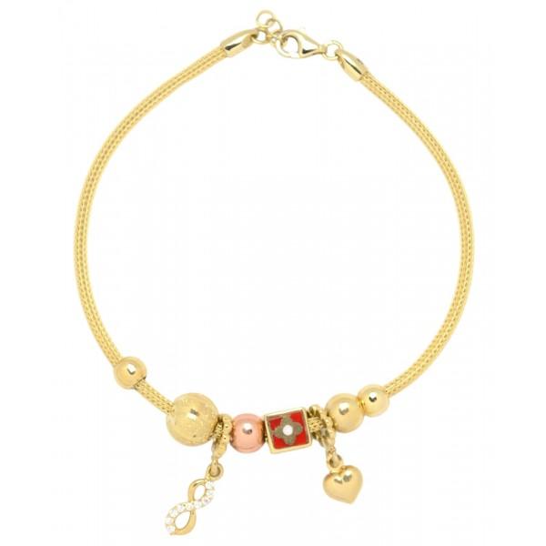 Bransoletka złota pr. 585 - serce, nieskończoność, kostka i kulki