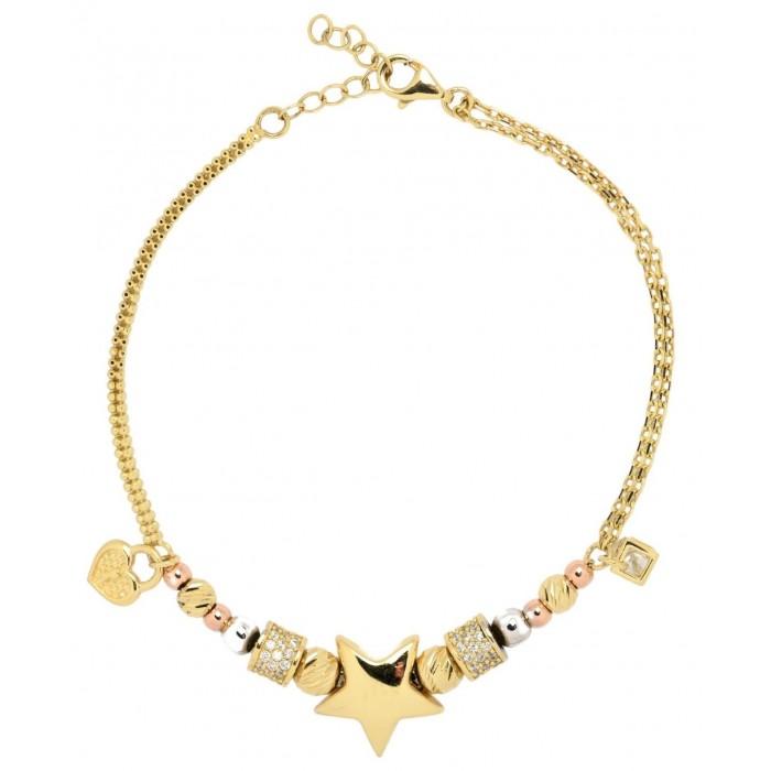 Bransoletka złota pr. 585 z elementami - kłódka (serce), gwiazdka, kulki, cyrkonie