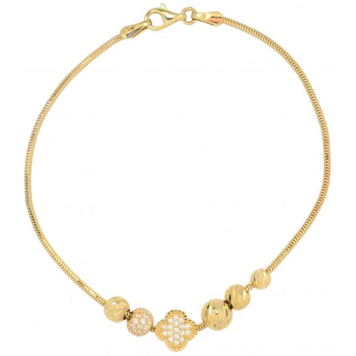 Bransoletka złota pr. 585 z elementami - koniczyna z kulkami