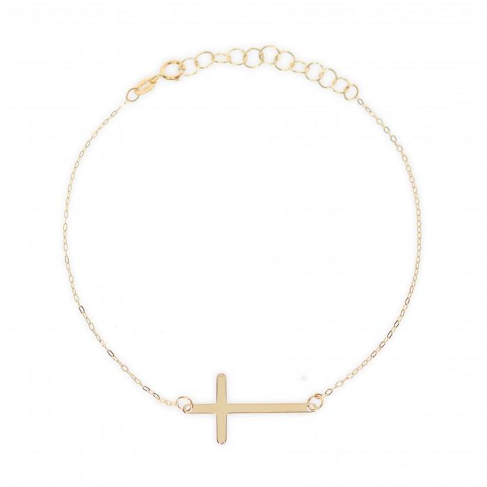 Bransoletka złota pr. 585 celebrytka - krzyżyk
