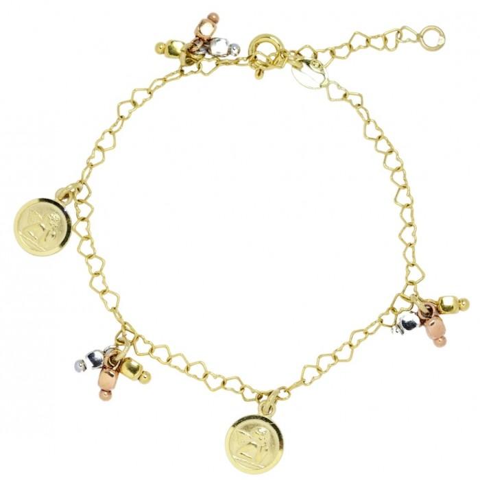 Bransoletka złota pr. 585 z zawieszkami - aniołki