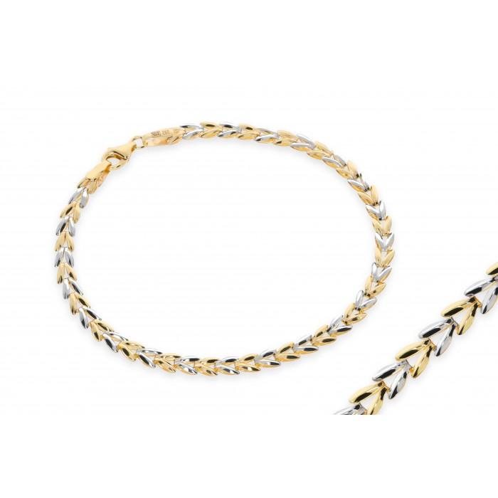 Bransoleta złota jodełka bicolor