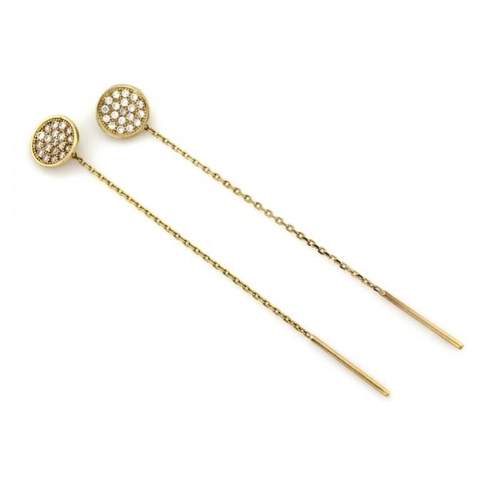 Kolczyki przewlekane złote pr. 585 - koła wysadzane cyrkoniami