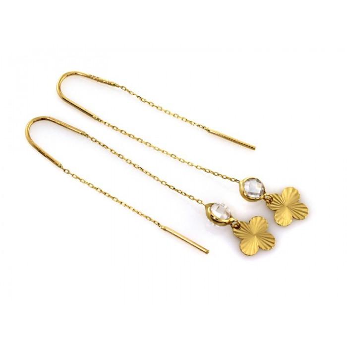 Kolczyki przewlekane złote pr. 585 - koniczyna z cyrkonią