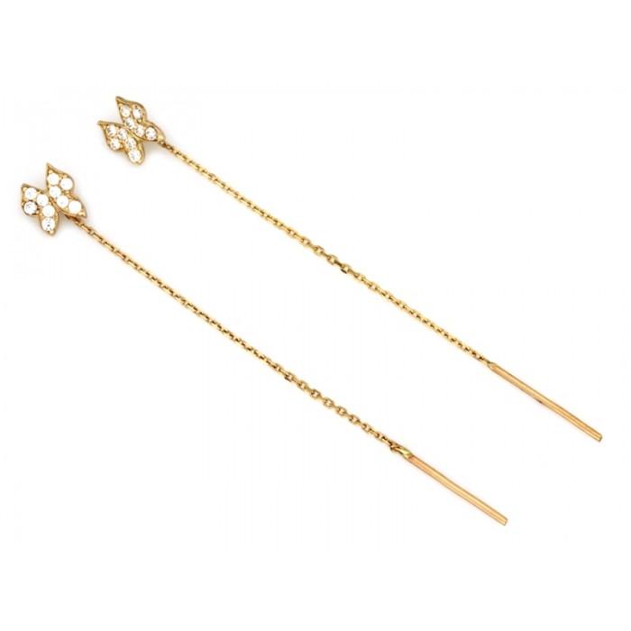 Kolczyki przewlekane złote pr. 585 - motyle z cyrkoniami