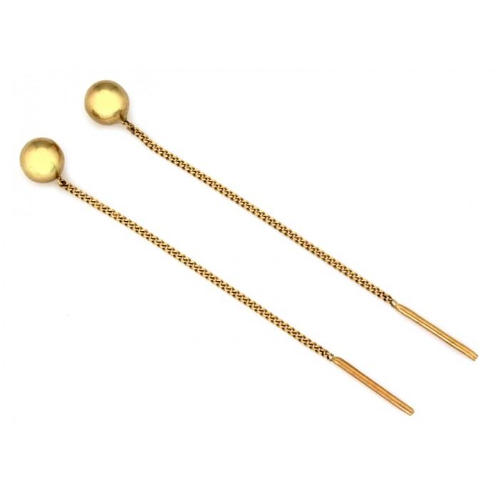 Kolczyki przewlekane złote pr. 585 z kuleczką przy uchu